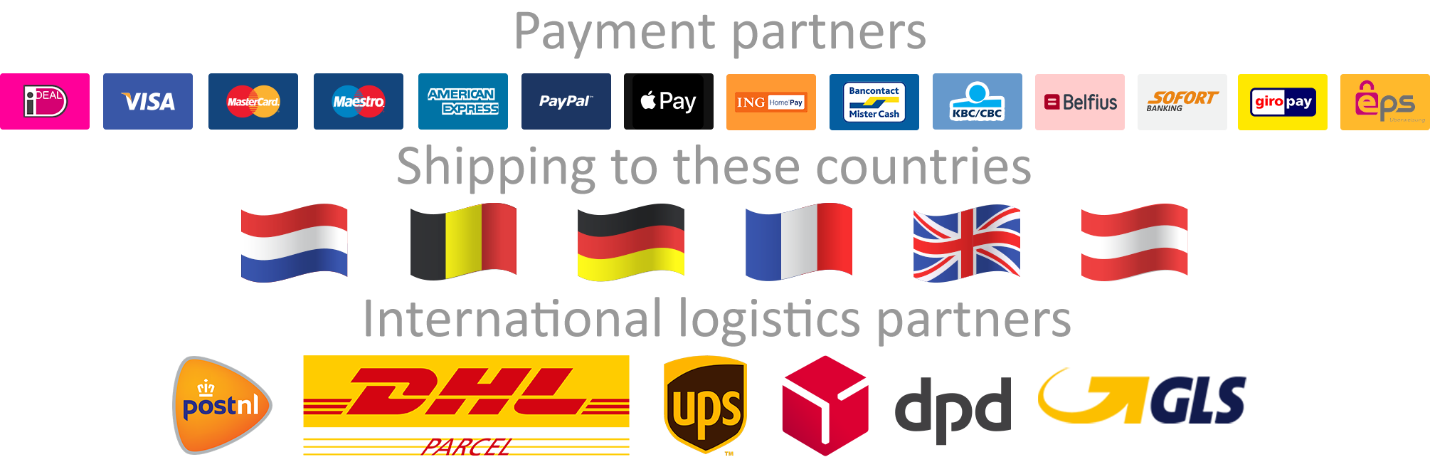Payments shipping countries logistics stekjesbrief-nl